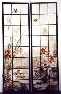 L'Antiquaire du Vitrail - iris et canard - Stained Glass