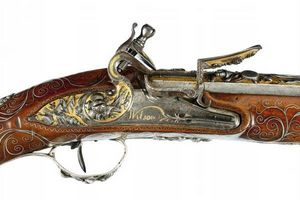 Peter Finer - a rare silver mounted flintlock presentation blund - Carbine And Rifle