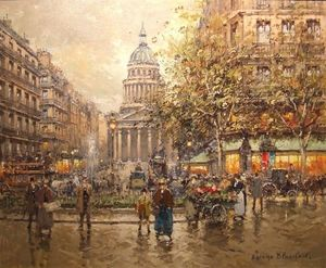 E STACY-MARKS - paris le pantheon' - Oil On Canvas And Oil On Panel