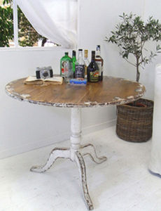 BLEU PROVENCE - vintage white - Round Diner Table