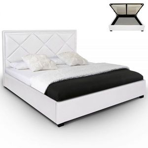 WHITE LABEL - lit-coffre + sommier lemnos - blanc - Storage Bed