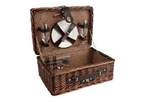 Aubry-Gaspard - valise pique-nique 2 couverts en osier teinté 40x2 - Picnic Basket