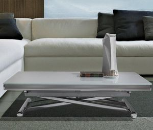 WHITE LABEL - table basse relevable extensible happening blanc a - Liftable Coffee Table