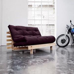 WHITE LABEL - canapé bz style scandinave roots futon violet couc - Reclining Sofa