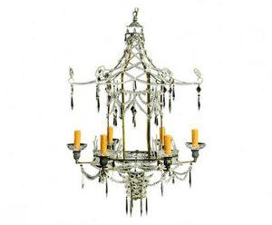 Demeure et Jardin - lustre pagode pampilles en verre - Chandelier