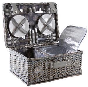 Aubry-Gaspard - panier pique-nique 4 couverts en osier gris - Picnic Basket