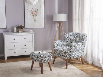 BELIANI - repose-pieds - Armchair And Floor Cushion