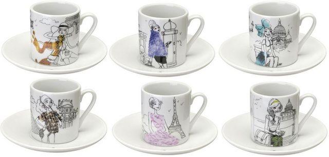 La Chaise Longue - Coffee cup-La Chaise Longue-Coffret 6 tasses à café en porcelaine les parisien