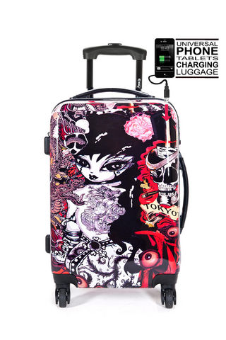 TOKYOTO LUGGAGE - Suitcase with wheels-TOKYOTO LUGGAGE-TATTOO GIRL