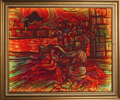 LIGHT MY ART - Contemporary painting-LIGHT MY ART-« Epuisante misère ». Soie 112*92 cm © par  Darmo.