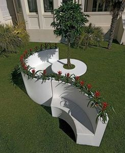 BYSTEEL - Blumenkübel mit Bank