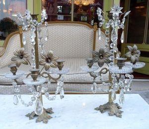 Art & Antiques - paire de pampilles xixe non électrifiées - Mehrarmiger Leuchter
