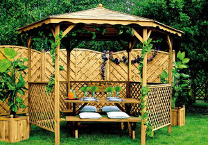JARDIPOLYS - tonnelle de jardin en pin lora 345x245cm - Pavillon