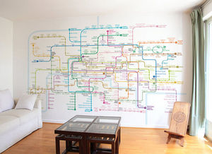 Ohmywall - papier peint plan de métro de paris - Tapete