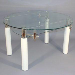 Smart Boutique Design - table en verre ronde à rallonge extensible bianco  - Runder Esstisch