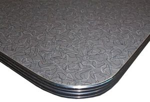 US Connection - table : formica charcoal boomerang 76*76 - Bistrotischplatte