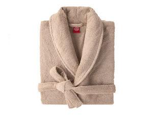 BLANC CERISE - peignoir col châle - coton peigné 450 g/m² sable - Bademantel