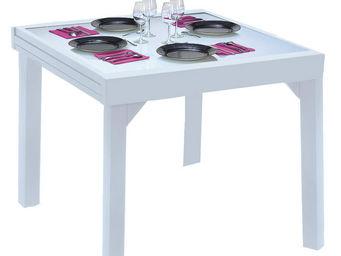 WILSA GARDEN - table de jardin modulo blanc 4 à 8 personnes en al - Gartentisch