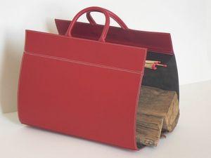 MIDIPY - en cuir rouge - Kaminholzhalterständer