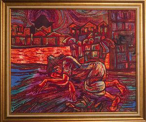LIGHT MY ART - « epuisante misère ». soie 112*92 cm © par darmo. - Zeitgenössische Gemälde