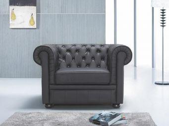 BELIANI - fauteuil en cuir chesterfield noir - Chesterfield Sessel