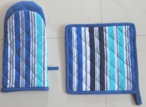 ITI  - Indian Textile Innovation - stripes - blue - Ofenhandschuh