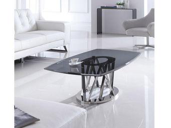 WHITE LABEL - table basse médium maelis - noir - Rechteckiger Couchtisch