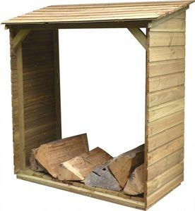 Cihb - abri bûches en bois avec plancher tim - Kaminholzregal