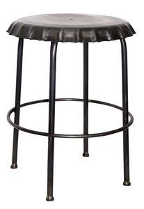 Aubry-Gaspard - tabouret capsule en métal noir - Barhocker