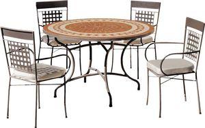 HEVEA - table de jardin ronde et fauteuils lorny vigo 4 fa - Garten Esszimmer