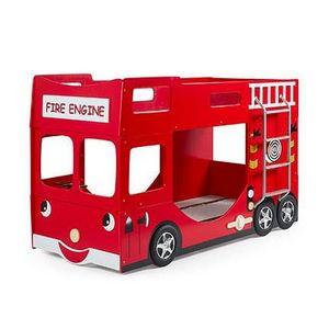 MAISON ET STYLES - lits superposés camion de pompier 90x200 cm + matelas rouge - fire - Hochbett