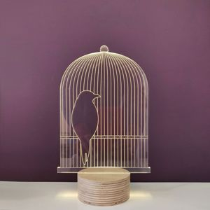 STUDIO CHEHA - bird cage - lampe led effet 3d - Tischlampen