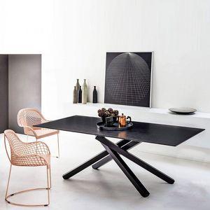 Midj - pechino - table plateau bois laqué noir 200 x106 c - Rechteckiger Esstisch