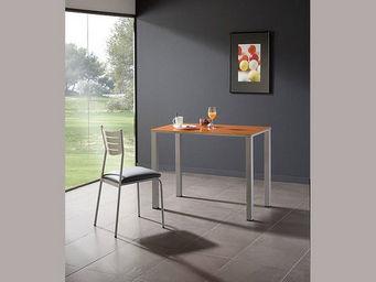Meublesetobjets - table de cuisine light en métal et verre - Rechteckiger Esstisch
