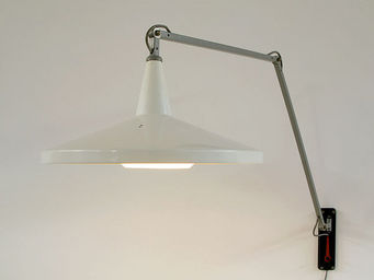 FURNITURE-LOVE.COM - wim rietveld white panama industrial swing lamp - Leselampe