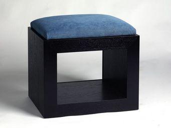 Gerard Lewis Designs - upholstered stool in black finish - Hocker