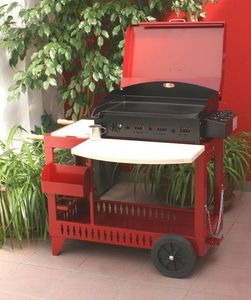 Le Marquier - la reina s/chariot - avec couvercle - rouge - Grill Plate