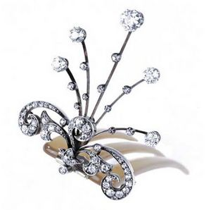 VENDOME JOYERIA - aigrette or argent diamants fin xix - Federbusch