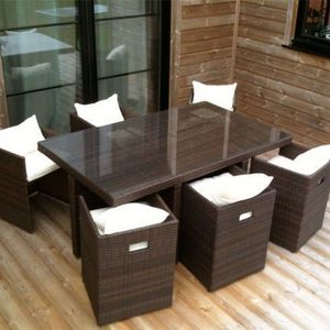 LE RÊVE CHEZ VOUS - salon de jardin table résine tressée avec 6 fauteu - Gartengarnitur