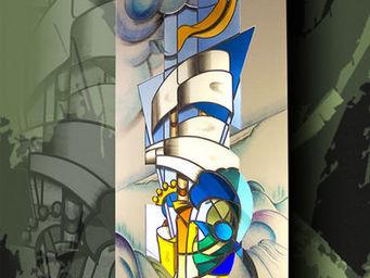 Atelier 1..2..3 vitrail - la vague - Buntglasfenster