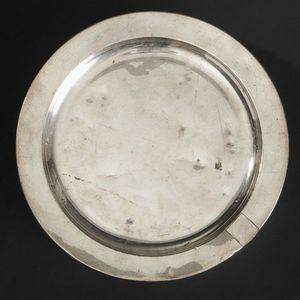 Expertissim - chauffe-plat rond en métal doublé, milieu du xixe  - Warmhalteplatte