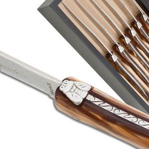 Laguiole Actiforge - coffret de 6 couteaux a steak laguiole manche en p - Tischmesser