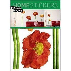 Nouvelles Images - stickers adhésif fleurs 4 pavots rouges nouvelles  - Sticker