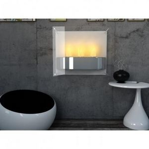 WHITE LABEL - chemine thanol light fire blanc - Kamin Ohne Rauchabzug