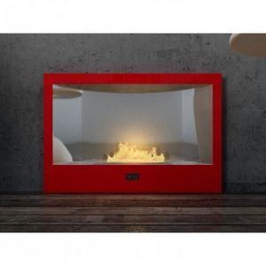 WHITE LABEL - chemine bio thanol classica rouge laque - Kamin Ohne Rauchabzug