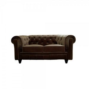 WHITE LABEL - canapé velours 2 places bristol - Chesterfield Sofa