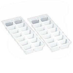 WHITE LABEL - lot de 2 bacs de 14 glaçons en plastique souple - Eisschale