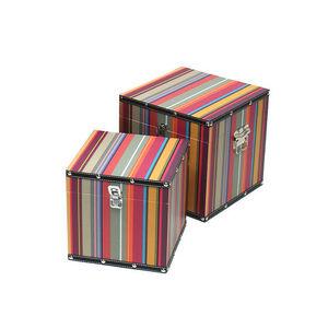 WHITE LABEL - 2 boîtes carrées en bois et toile à motif bayadère - Staukiste