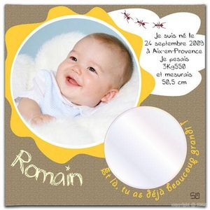 BABY SPHERE - toile photo naissance jungle 20x20cm - Kinder Fotorahmen