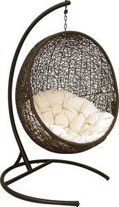 Aubry-Gaspard - fauteuil balancelle oeuf en polyrésine et acier 10 - Hollywoodschaukel